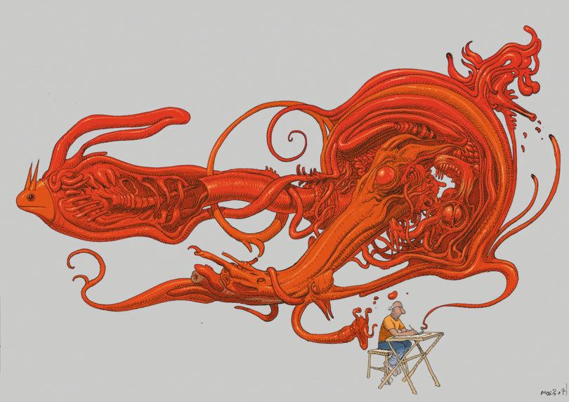 "Moebius, ""Inside Moebius"", Tusche auf Papier, digital bearbeitet und koloriert, 2007, Blatt 82/83, Band 6, 2010, Abb.: © 2019 Moebius Production"
