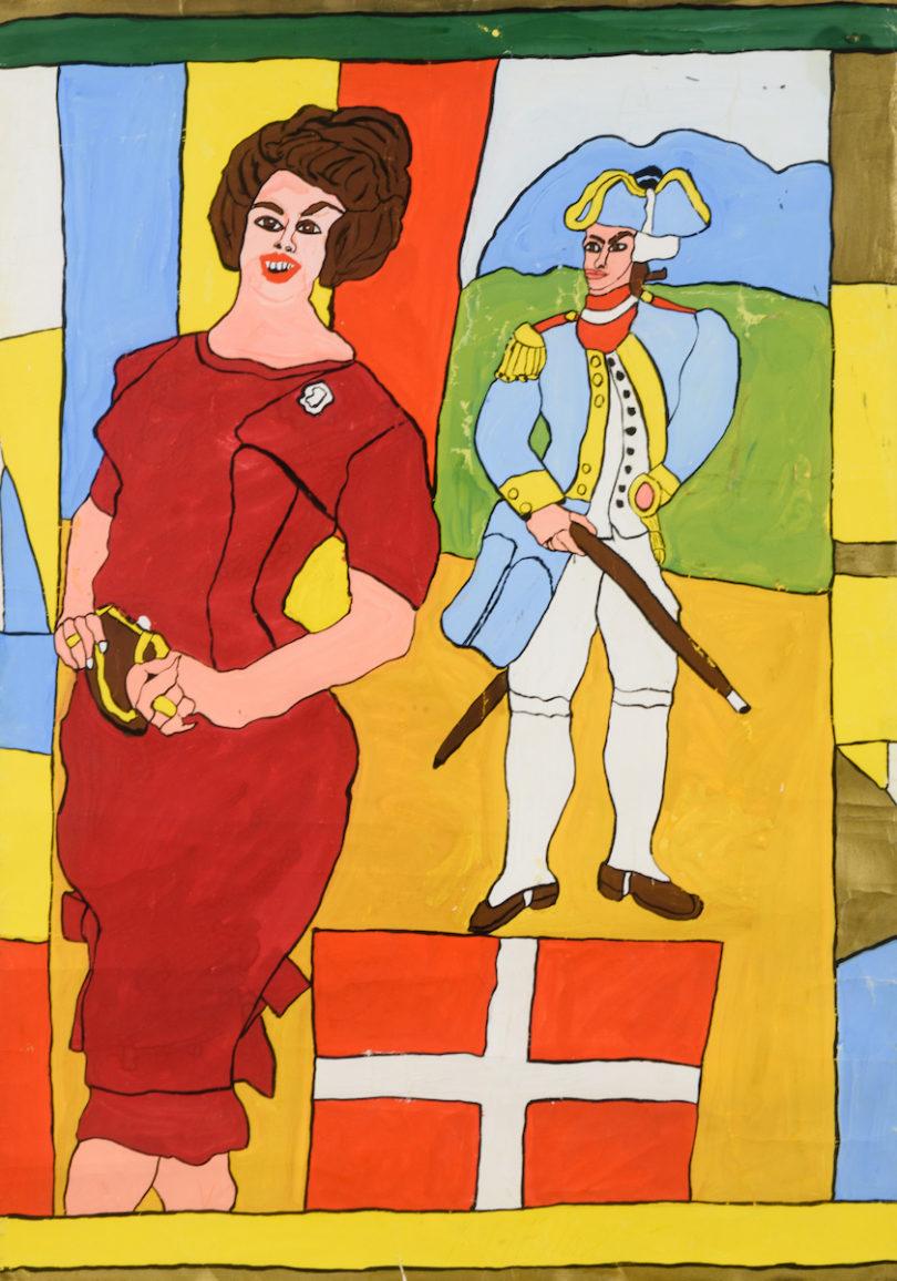 Josef Wittlich malte die dänische Königin Margrethe II. mit einem Soldaten nach einem Motiv aus der Boulevardpresse. Es ist auf 900 Euro geschätzt, Abbildung: Auktionshaus Wendl