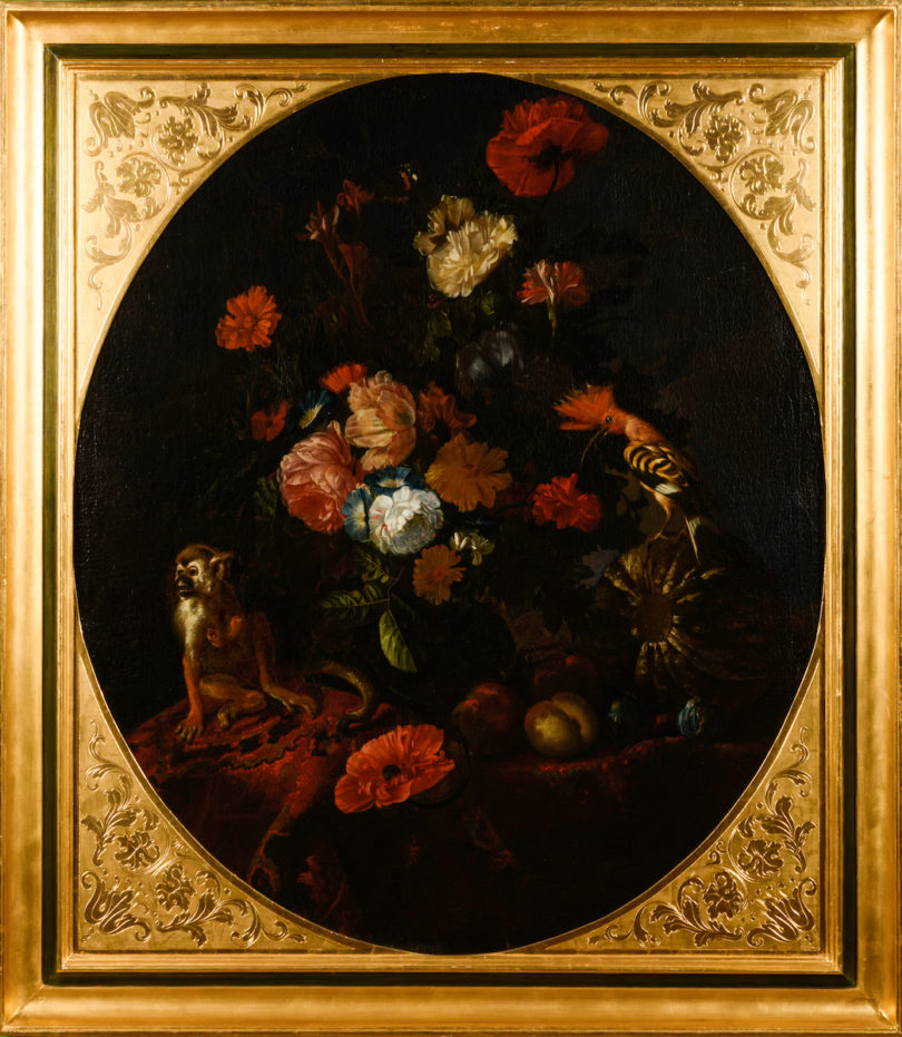 Das Stillleben mit Blumen, Obst und Äffchen stammt vielleicht von dem in Antwerpen tätigen Jan Pauwel Gillemans (ca. 1618 bis um 1680), Abbildung: Auktionshaus Wendl