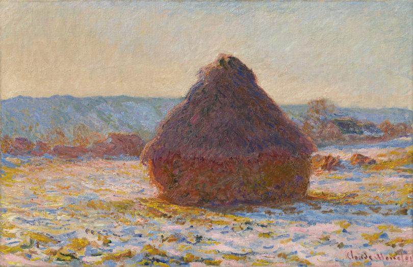 "Claude Monet, ""Getreideschober, Schnee, Sonnenlicht"", 1891, Privatbesitz"