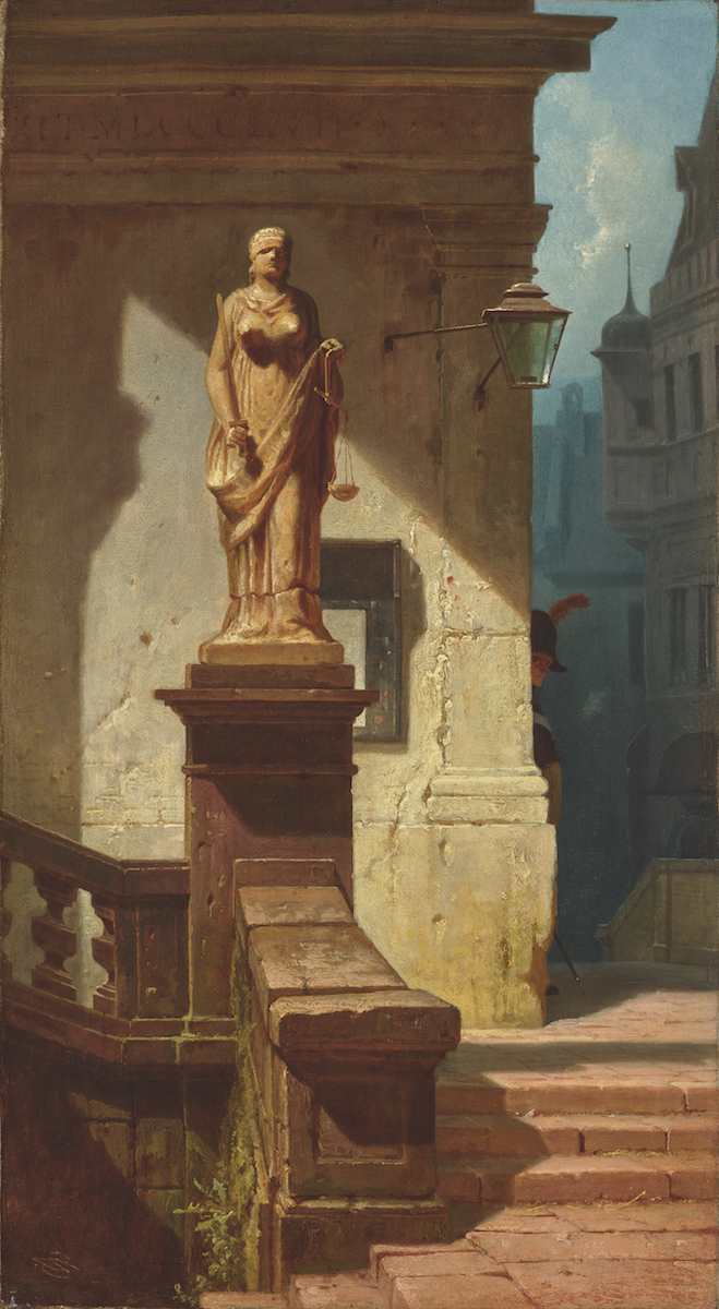"Carl Spitzweg, ""Justitia"", 1857, Abbildung: Christian Mitko/NEUMEISTER"