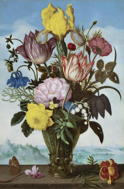 Um Schönheit und Vergänglichkeit geht es in dem Blumenstillleben im römischen Glas von Ambrosius Bosschaert dem Älteren. Anfang des 17.Jahrhunderts komponierte der holländische Maler sein Bouquet im Angebot der Galerie De Jonckheere, Abbildung: De Jonckheere, Genf
