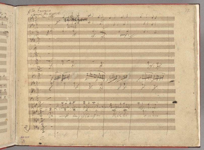 Autograf aus dem 4. Satz von Beethovens 9. Sinfonie mit Schillers Ode
