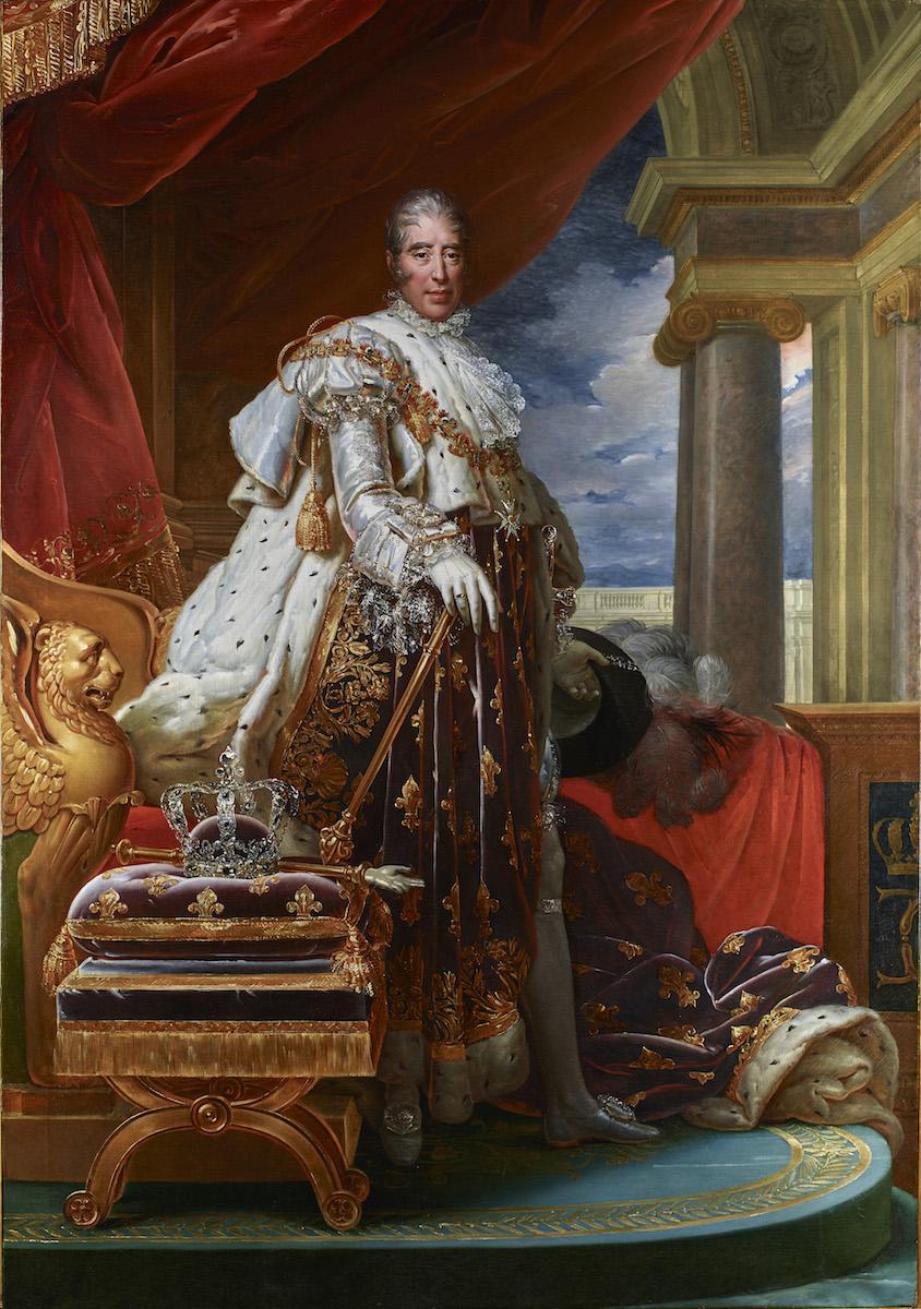 Royales Selbstbewusstein hielt Baron François Gérard 1825 fest: Sein großartiges Historienbild am Stand der Londoner Gemäldeexperten Stair Sainty präsentiert Frankreichs neuen Herrscher Karl X. Philipp im königlichen Ornat, Abbildung: Stair Sainty, London