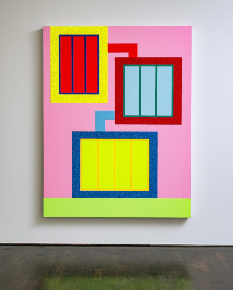 """Peter Halley, """"Long Shot"""", Acryl, fluoreszierendes Acryl und Roll-A-Tex auf Leinwand, 2019, 204 x 158 x 10 cm, rückseitig signiert und datiert / © Peter Halley, 2020, © Galerie Thomas, 2020"""