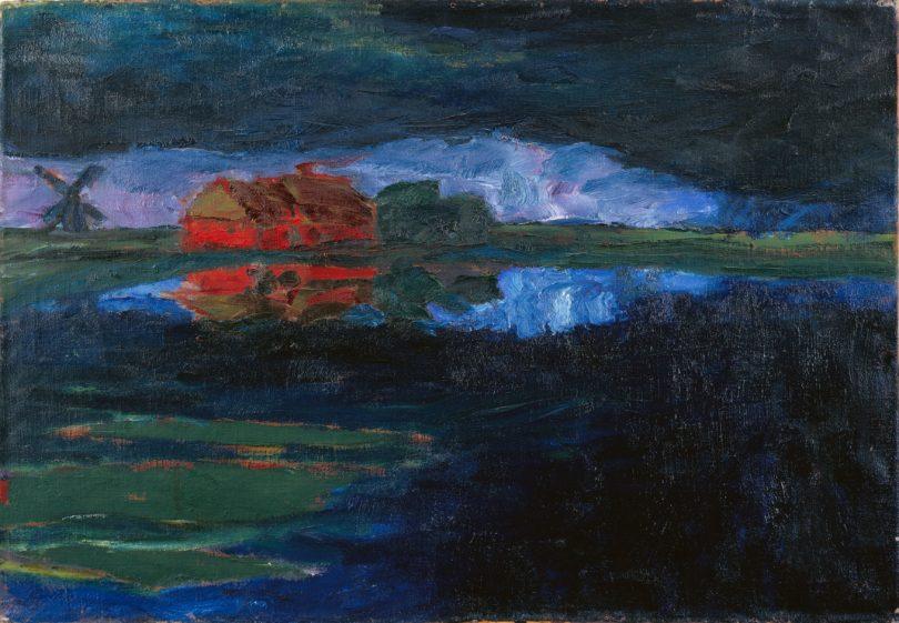 """Emil Nolde, """"Landschaft (Petersen II)"""", Öl auf Leinwand, 1924, 73,5 x 106,5 cm, rückseitig signiert und betitelt auf dem Keilrahmen / © Stiftung Seebüll Ada und Emil Nolde, 2020, © Galerie Thomas, 2020"""