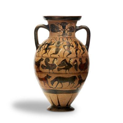 Griechischer Provenienz ist die frühe tyrrhenische Amphore, um 565 v. Chr. entstanden und unter anderem mit Panthern verziert. Solche Vasen seien in den letzten zwanzig Jahren selten auf den Markt gekommen, sagt Ludovic Marock von Plektron Fine Arts. Sein Exemplar kostet um 100000 Euro, Abbildung: Plektron Fine Arts, Zürich