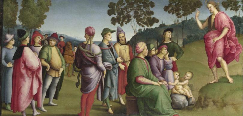 Raffael, Predigt von Johannes dem Täufer, 1505, Öl auf Pappel, Abbildung: © The National Gallery, London
