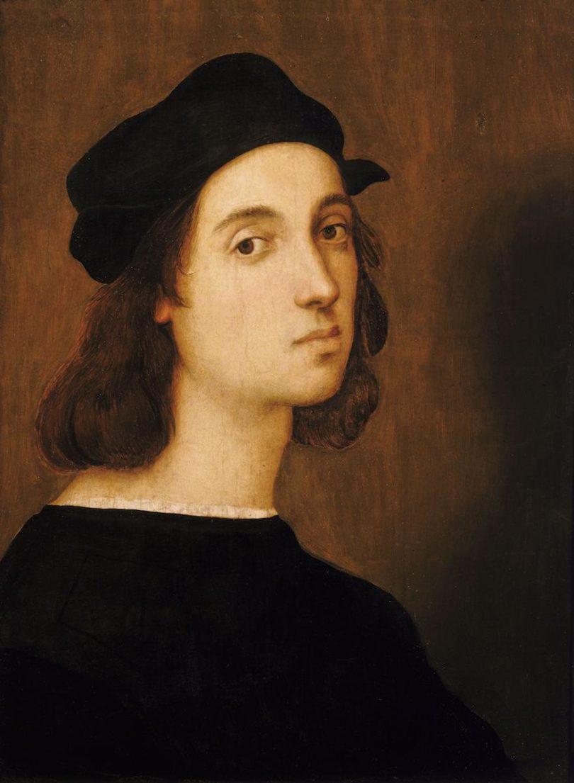 Selbstbildnis Raffaels mit etwa 23 Jahren, Tempera auf Holz, Uffizien, Florenz, Abbildung: Galleria degli Uffizi, Florenz