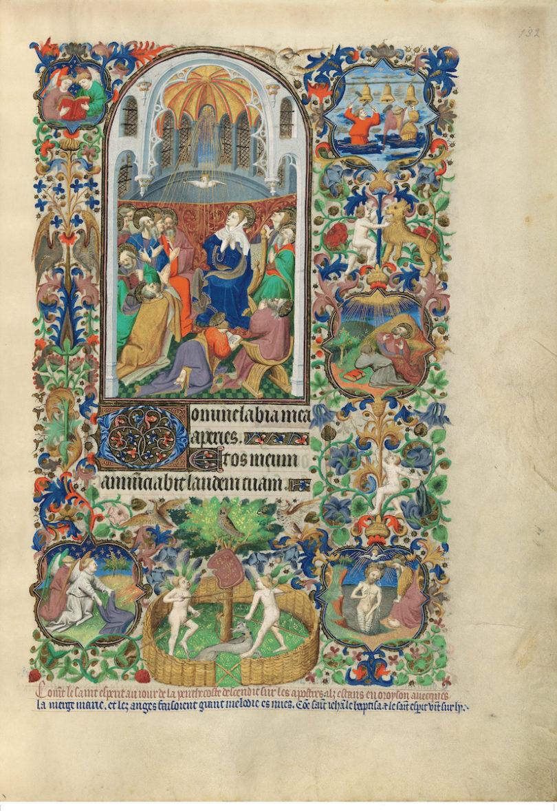 Das Pfingstwunder im Bedford-Stundenbuch in der British Library in London, entstanden 1423–30 in Frankreich, eine Seite aus der Faksimile-Edition im Faksimile Verlag (Foto: Faksimile Verlag)