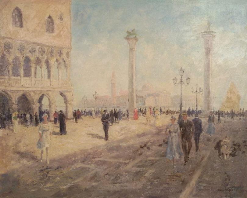 Otto Pippel Flanierende Spaziergänger auf dem sommerlichen Markusplatz in Venedig