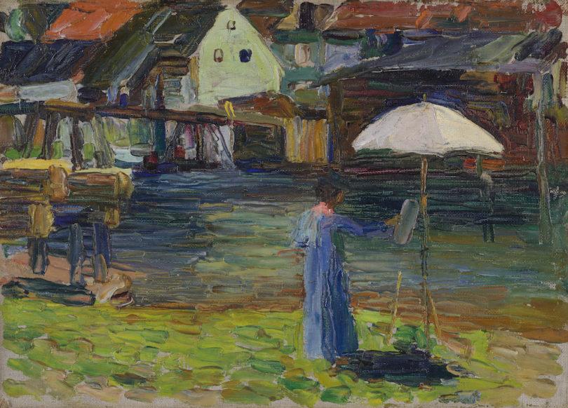 Wassily Kandinskys, Kallmünz – Gabriele Münter beim Malen I, 1903