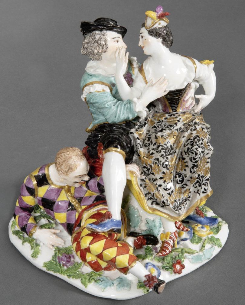 Figurengruppe Meissen Harlekin Metz Auktionen