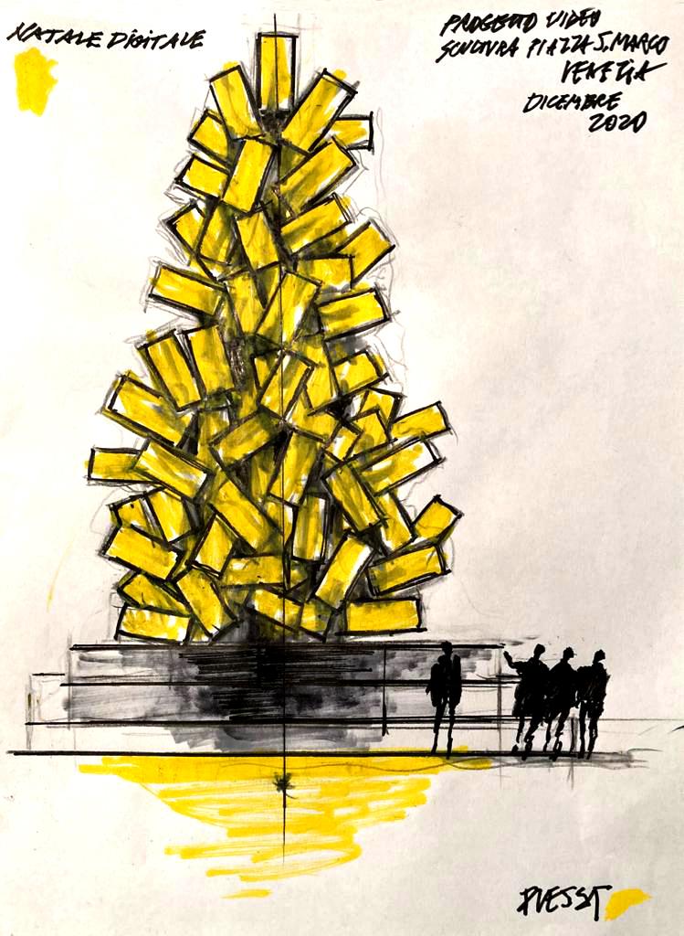 Lichtinstallation von Fabrizio Plessi Entwurf