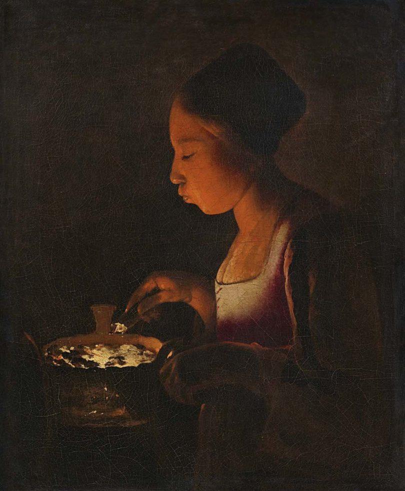 """Lempertz Georges de la Tour, """"Mädchen, in ein Kohlebecken blasend"""", 1646-1648"""