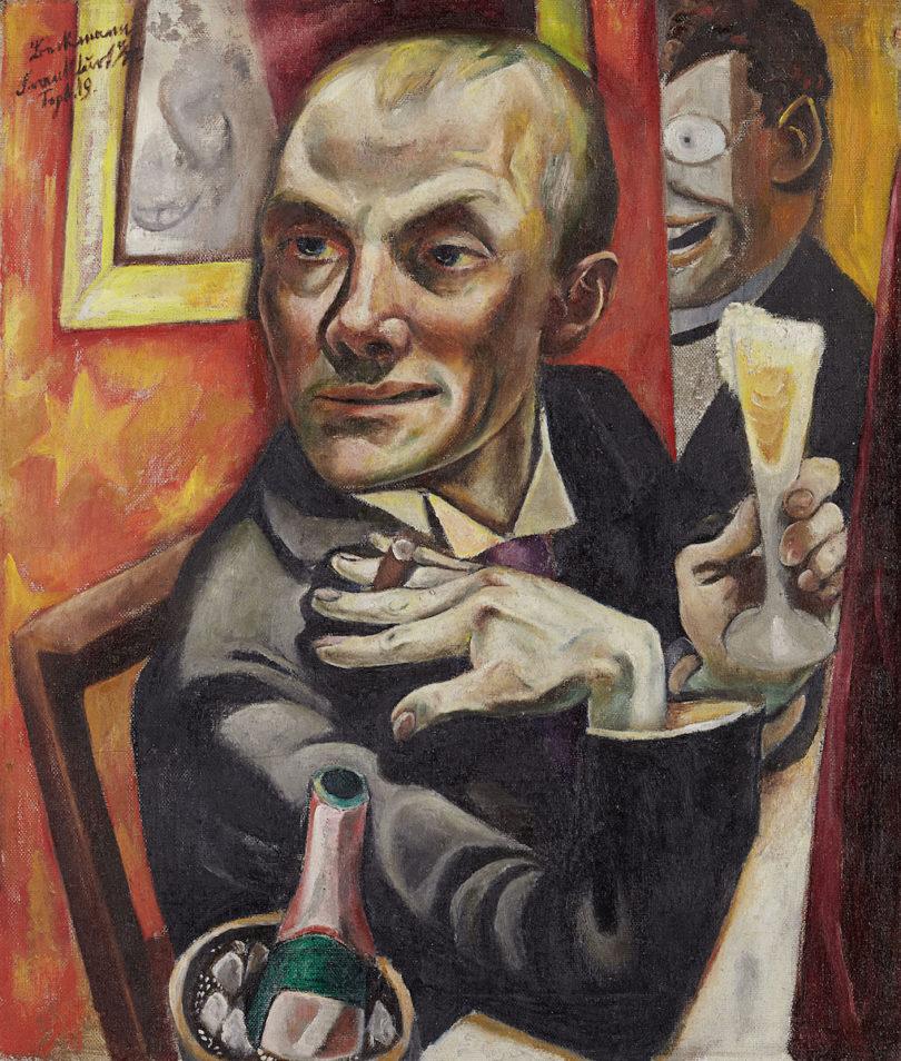 """Max Beckmann """"Selbstbildnis mit Sektglas"""" 1919"""