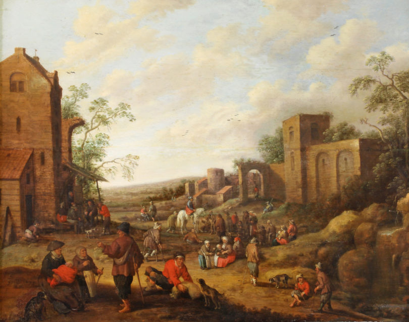 Droochsloot Dorf mit Bauern Plückbaum Auktion