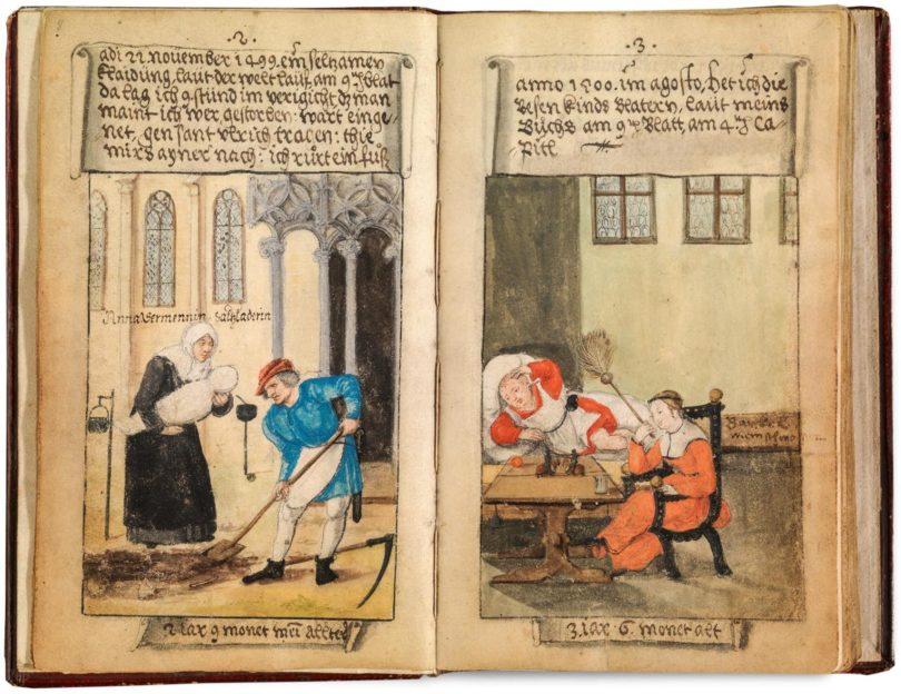 """Zu jeder Miniatur seines """"klaidungsbuechlin"""" hat Matthäus Schwarz einen Kommentar verfasst. © Bayerische Staatsgemäldesammlungen – Staatsgalerie in der Katharinenkirche, Augsburg"""