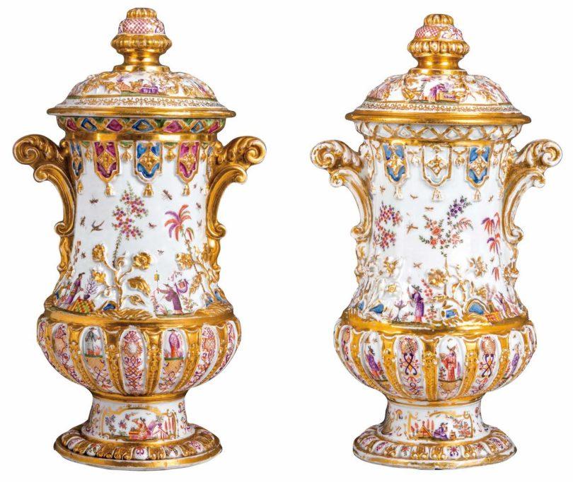 Metz Porzellan Vasenpaar